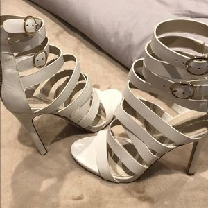 """""""Aldo"""" White Strapped Heels (Worn Once) Size 7.5"""